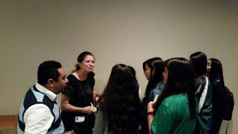 Carmen greeting students & signing books at Greenhill School (Oct. 21, 2014)