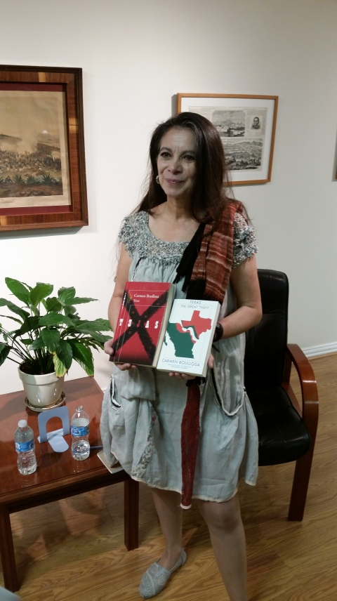 Carmen with her English & Spanish editions of TEXAS at the Mexican Consulate in Dallas after her reading (Oct. 21, 2014)