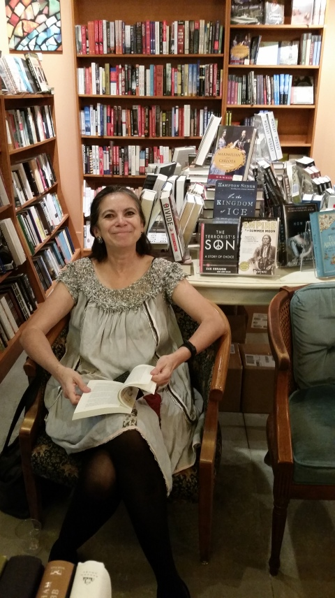 Carmen at The Twig Book Shop in San Antonio prior to her reading (Oct. 23, 2014)