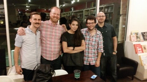 Carmen with staff at Brazos Bookstore in Houston (Oct. 24, 2014)